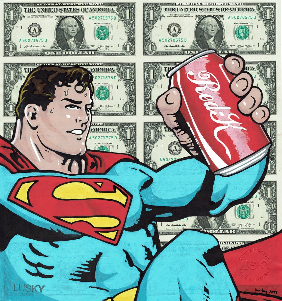 Image of 10 Uncut Dollar sheet original. Can Of Red Kryptonite