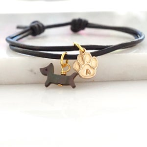 Image of Leather bracelet with dog and paw print,hand stamped initial bracelet
