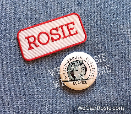 rosie the riveter patch and lapel pin badge button we can rosie