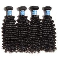 Image of 10-30 Inch Deep Curly Virgin Peruvian Hair #1B Natural Black