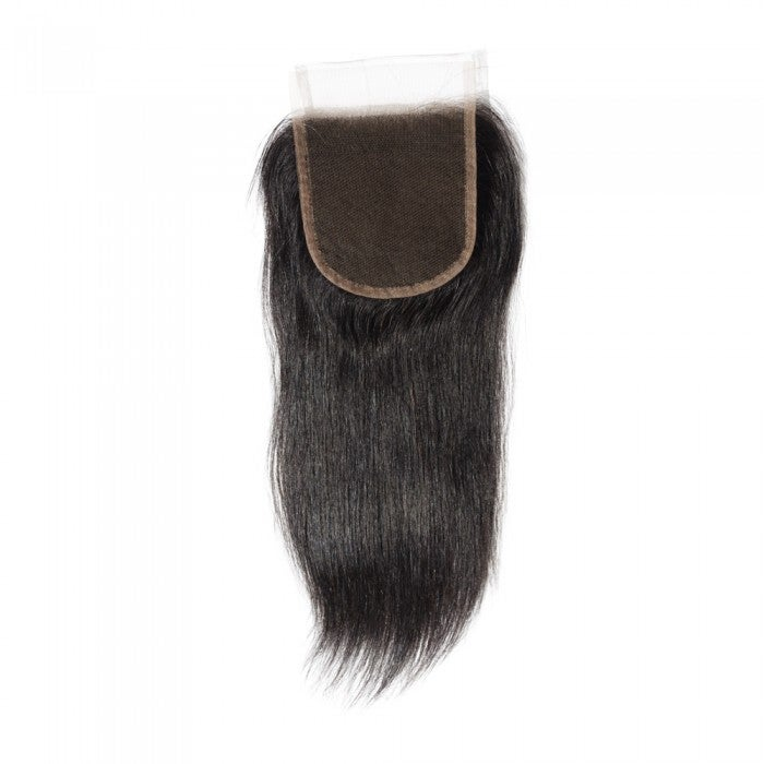 "Image of 10-20 Inch 4"" x 4"" Straight Free Parted Lace Closure #1B Natural Black"