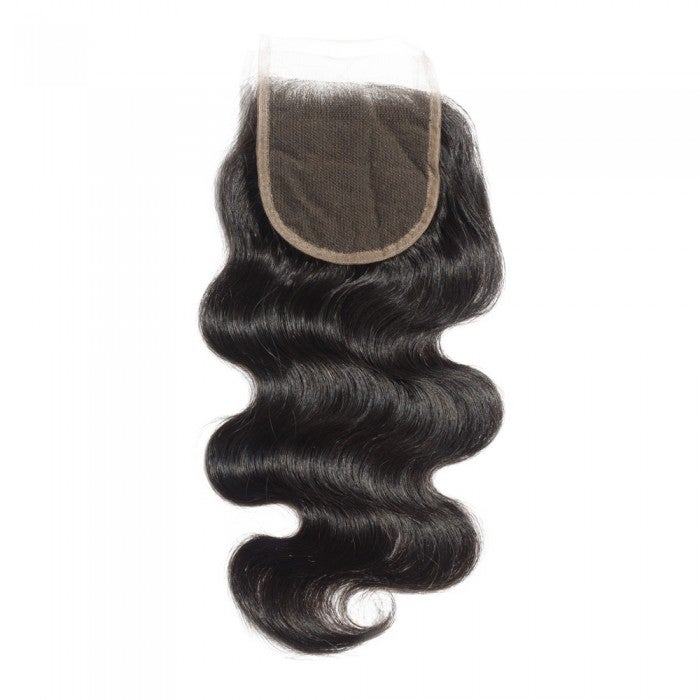 "Image of 10-20 Inch 4"" x 4"" Body Wavy Free Parted Lace Closure #1B Natural Black"