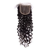 "Image of 10-20 Inch 4"" x 4"" Italy Curly Free Parted Lace Closure #1B Natural Black"