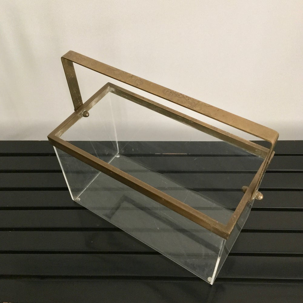 Image of Brass and Plexiglass Magazine Holder, 1970s