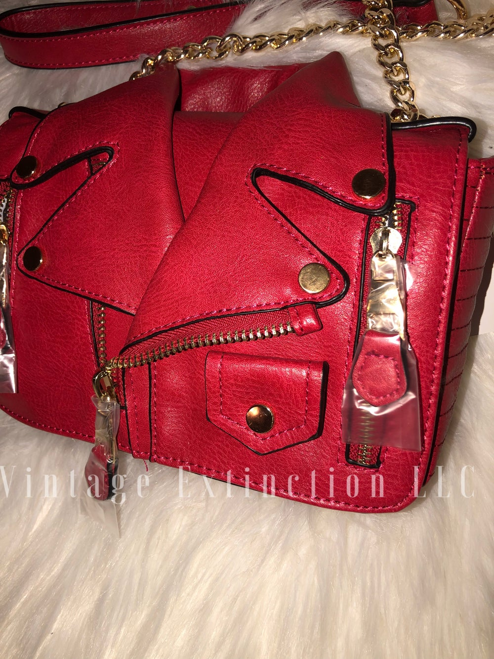 Image of Vegan Leather Motorcycle Jacket Bag
