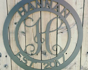 Image of Personalized Wedding Gift Monogram, Family Established Sign, Family Name Sign, Last Name, Family, L