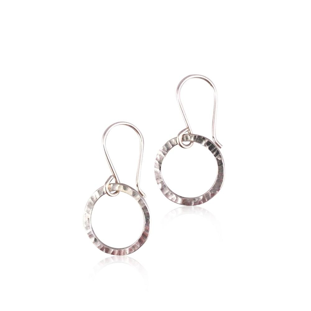 Image of mini hammered looper earrings