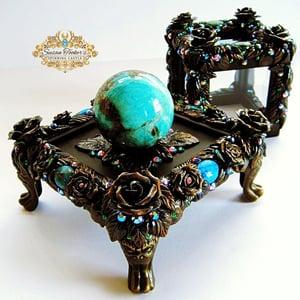 Image of CALLING THE SPIRITS - Crystal Ball Display Case Amazonite Black Tourmaline Sphere