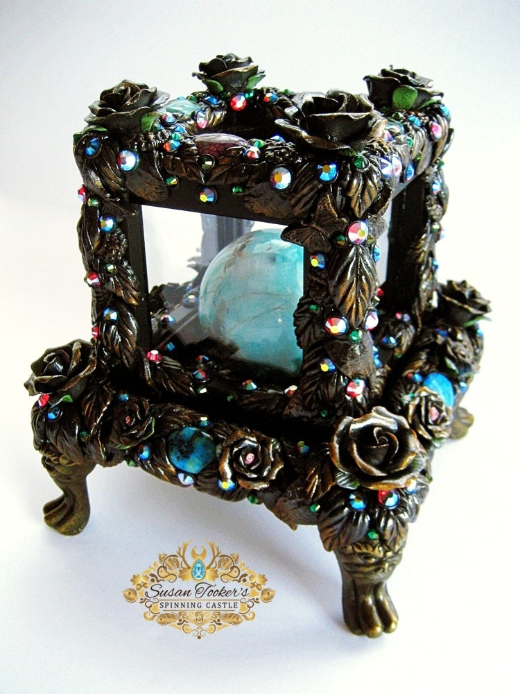 Image of CALLING THE SPIRITS - Crystal Ball Display Case Amazonite Black Tourmaline Sphere