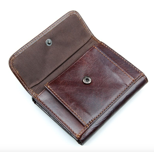 Image of Compact Leather Wallet with Coin Pouch