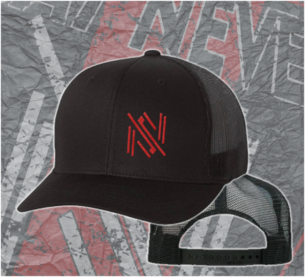 "Image of ""SAY NEVER ICON"" TRUCKER SNAP BACK CAP - BLACK CAP with RED ICON"
