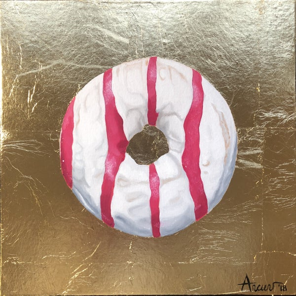Image of Gold White and Pink Stripes Donut
