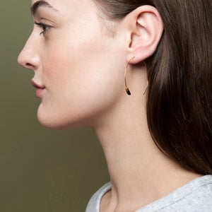 Image of Black bead hoops