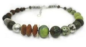 "Image of Serpentine with Carnelian ""Chunky"" Necklace"