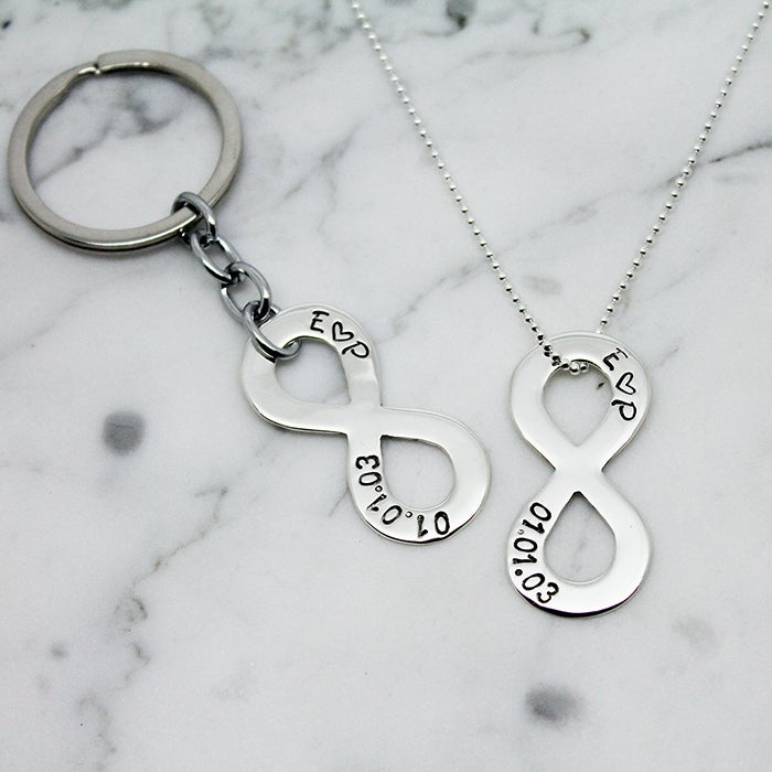 Image of Personalised Couples Infinity Symbol Key Ring and Necklace Set