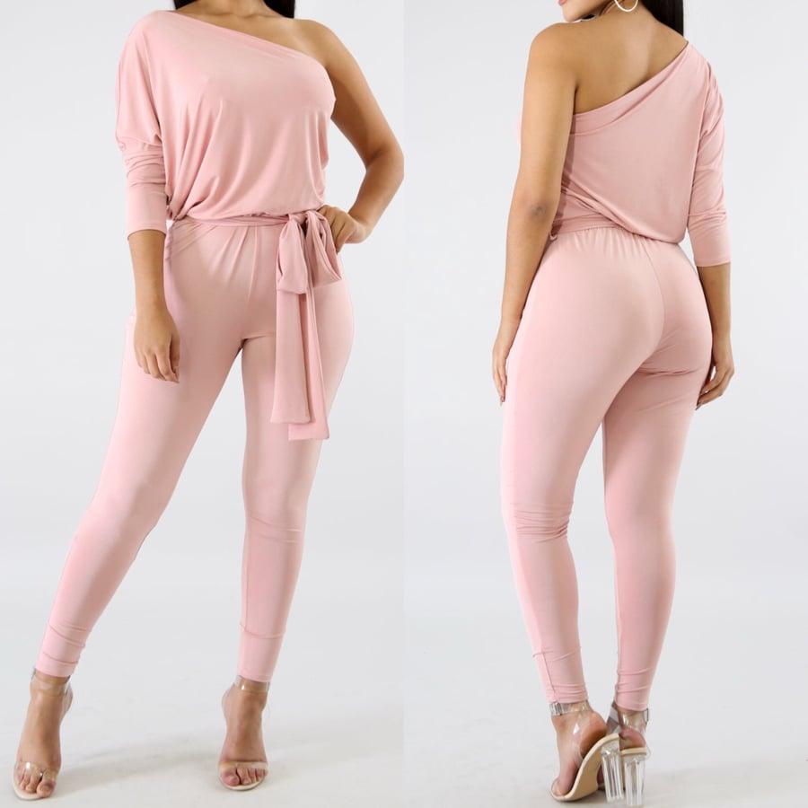 Image of Drape blush jumpsuit