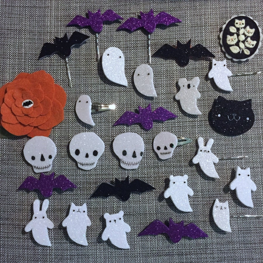 Image of halloween-ish brooches & hair pins // october 2018