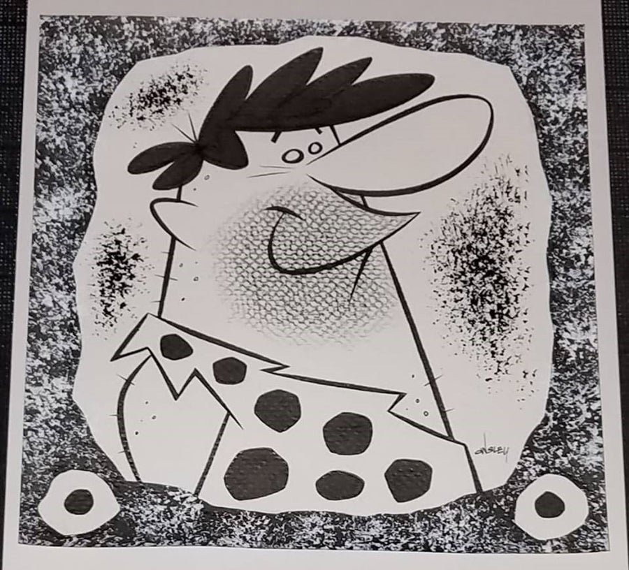 Image of BARNEY RUBBLE 8x8 ORIGINAL ART! HANNA-BARBERA's THE FLINTSTONES!