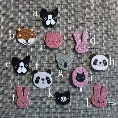 Image of fuzzy friends glitter brooches & clips // october 2018