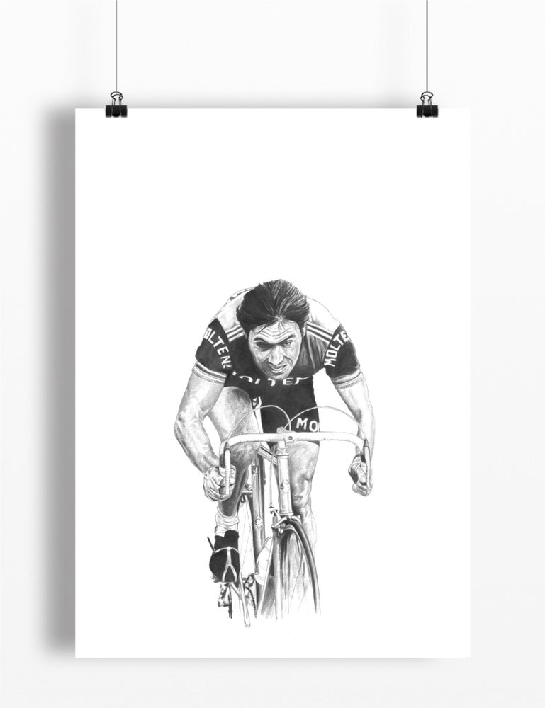 Image of Eddy Merckx A4 print - by Gemma Jones
