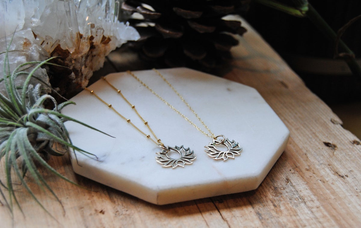 Image of Gold Lotus Cut-Out Necklace
