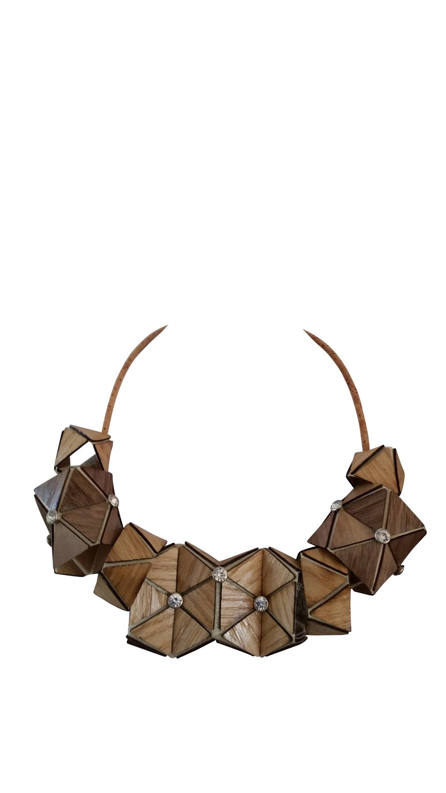 Image of Necklace in wooden textile - tessellation n.2