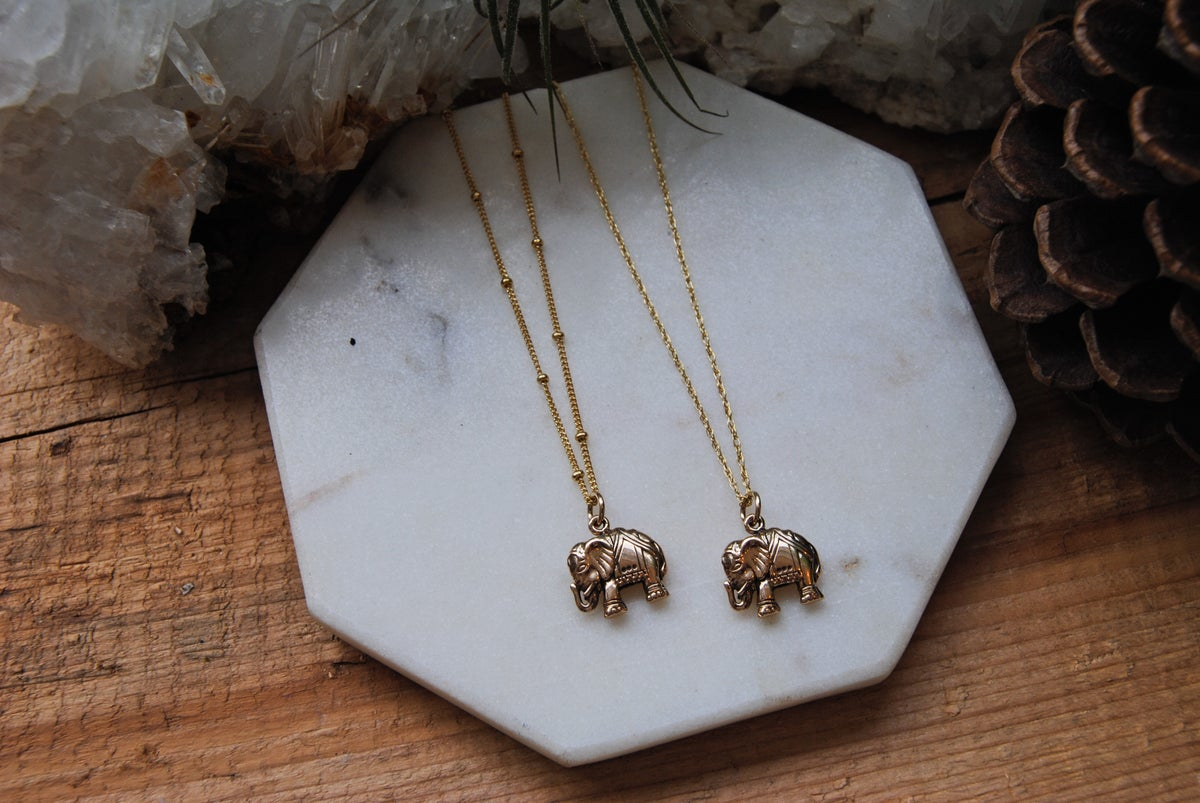 Image of Petite Gold Elephant Necklace