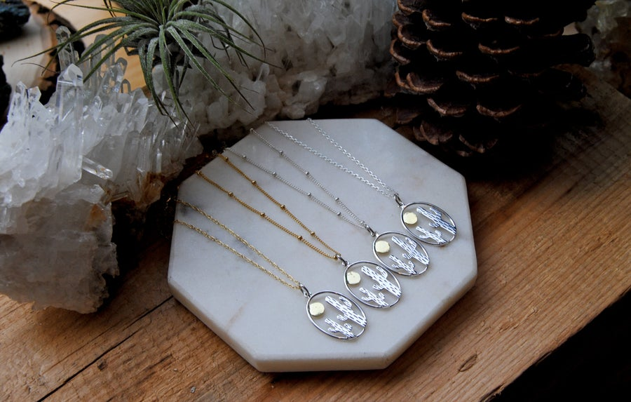 Image of Gold & Silver Cactus w/ Sun Necklaace