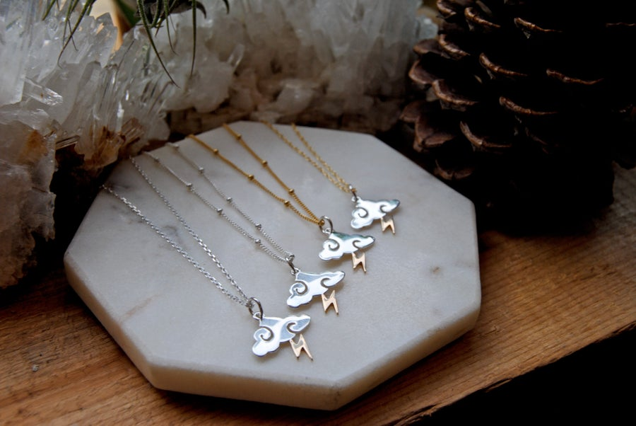 Image of Gold & Silver lightning Bolt Cloud Necklace