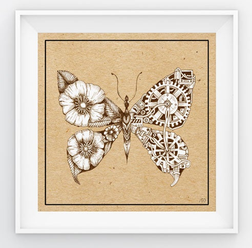 Image of Fluttercogs - steampunk floral butterfly limited edition print