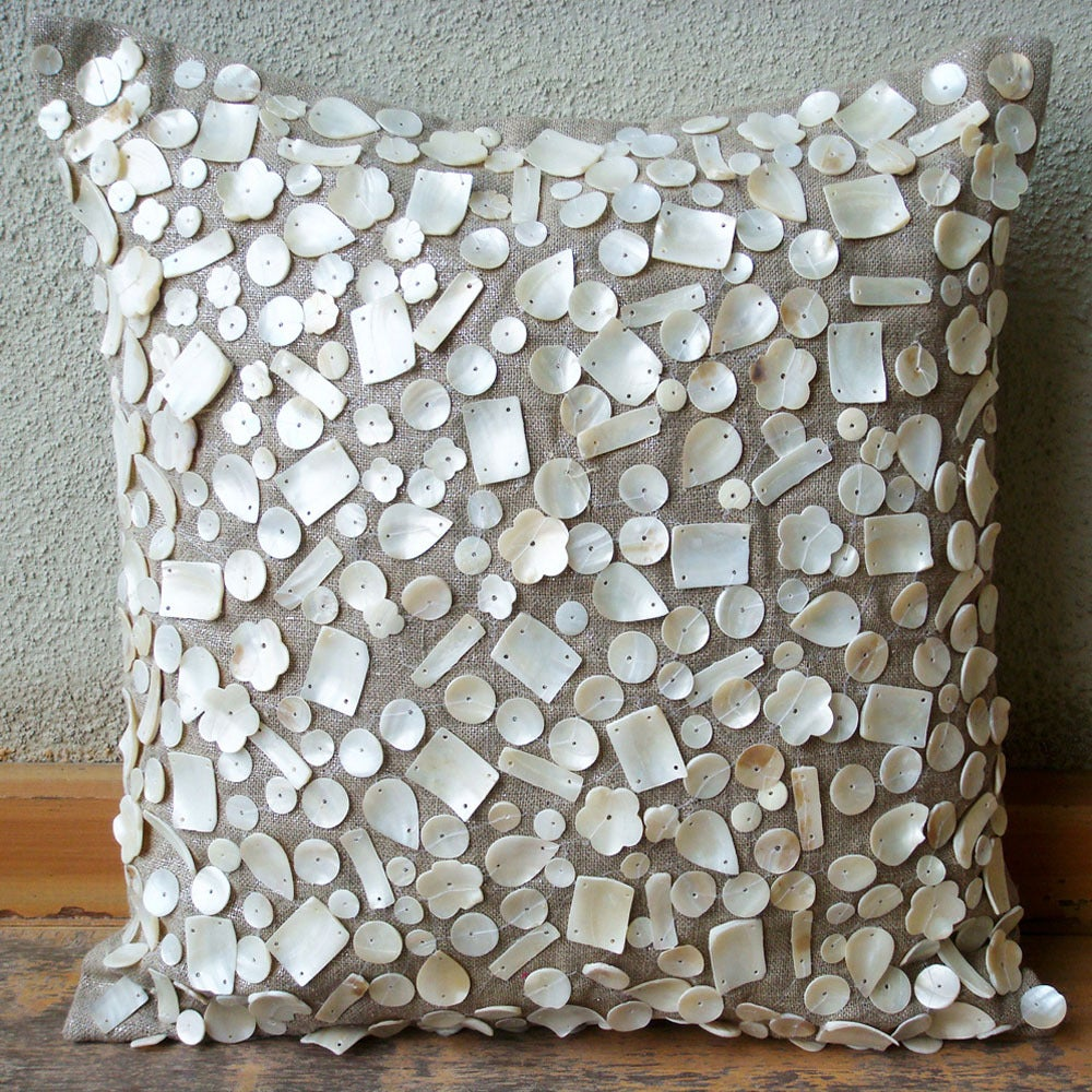Image Of Pearl Pion 16 Inches Square Pillow Cover On Silver Lurex Linen With