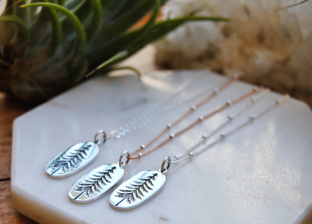 Image of Etched Tall Pine Necklace