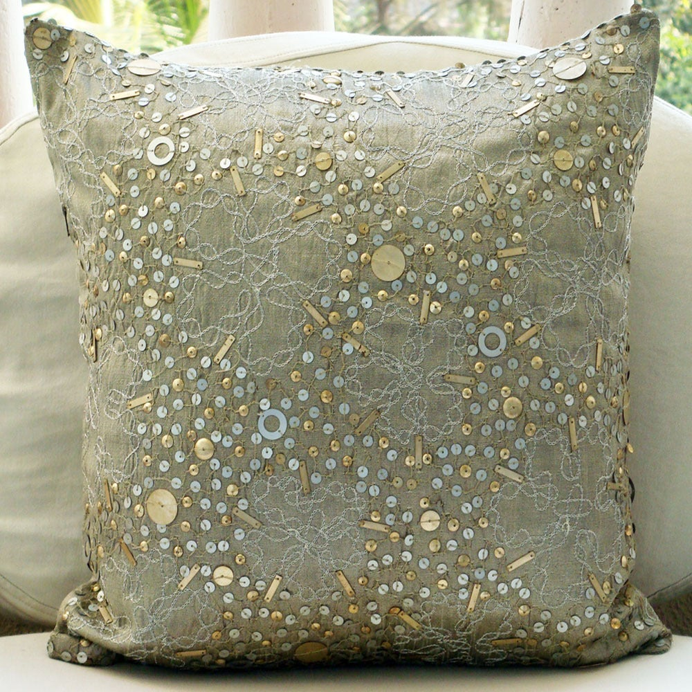 Image Of Mystic Silver 16 Inches Dupion Silk Square Pillow Cover