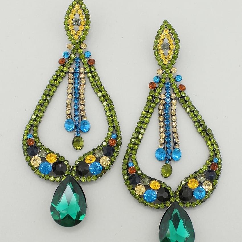 """Image of """"Genesis"""" Multicolor Dangle Crystal Earrings"""