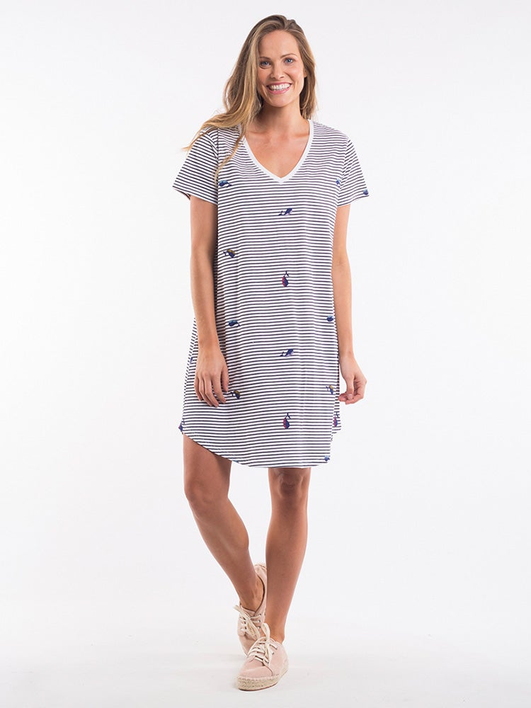 Image of ELM Flippin Whale Stripe Tee Dress