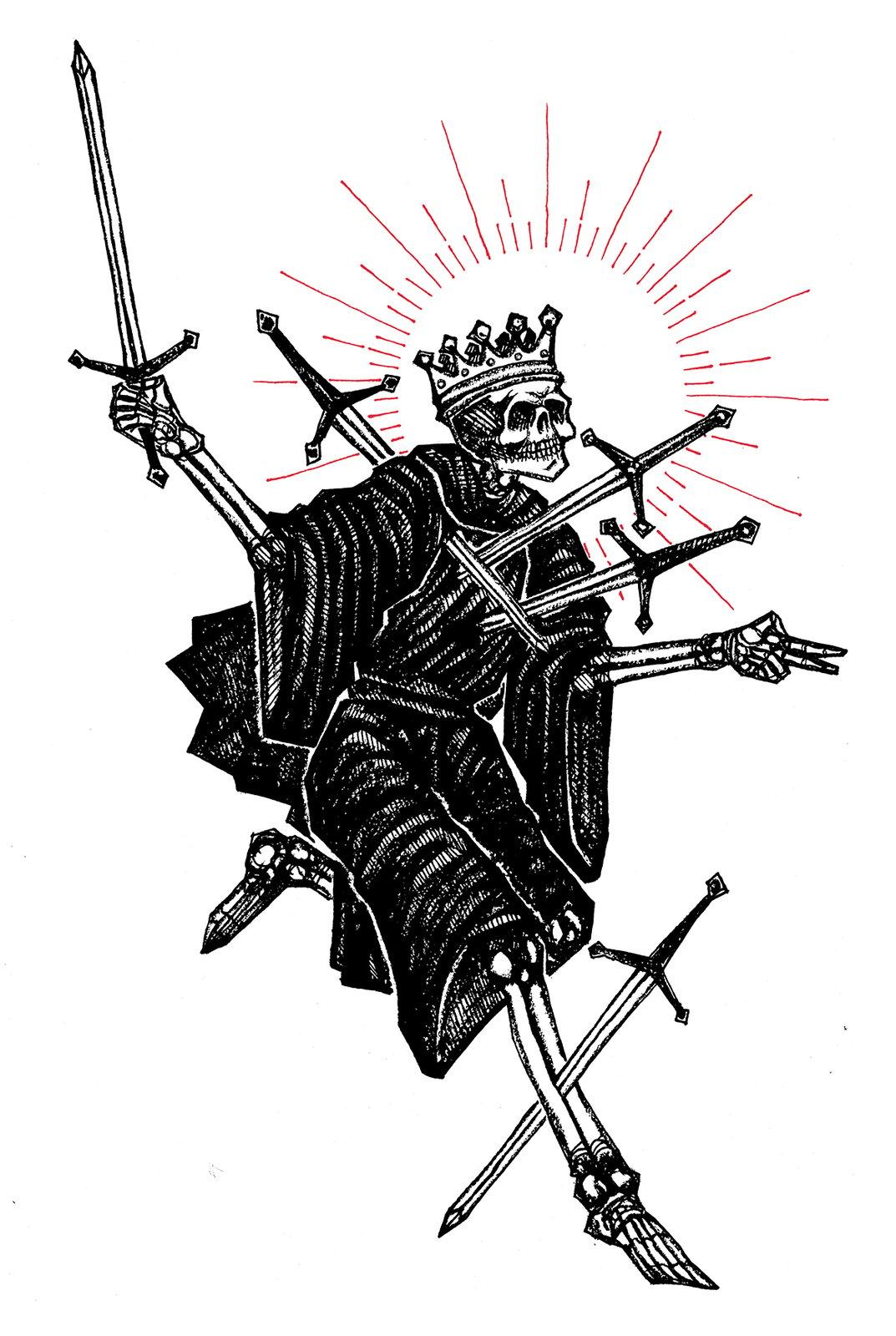 """""""Five Of Swords"""" 8.5""""x11"""" Watercolor Print"""