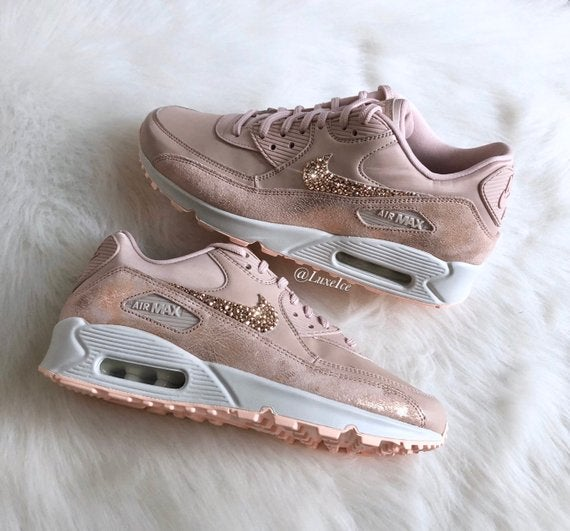 Image of Swarovski Nike Air Max 90 Premium Running Shoes customized with Rose Gold SWAROVSKI® Crystals.