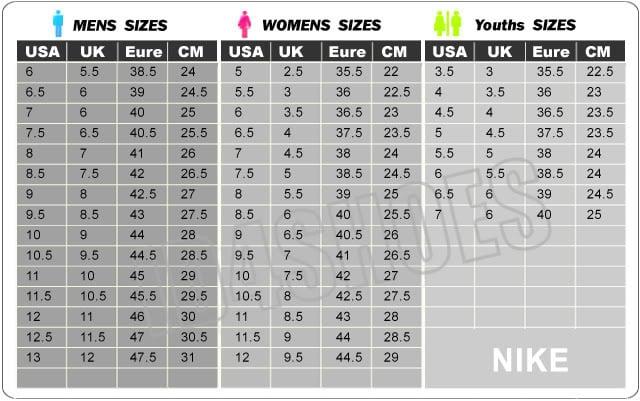 "Vaizdo rezultatas pagal užklausÄ â€žnike running shoe size chart"""