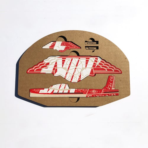 Image of Box Glider Laser cut and engraved old Nike Box / Hoop included