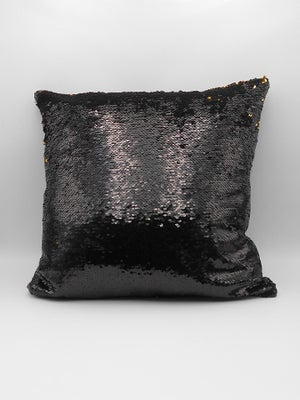 Image of GLOSS BLACK & GOLD REVERSIBLE SEQUIN CUSHION