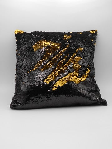 Image of GLOSS BLACK & GOLD REVERSIBLE SEQUIN CUSHION COVER