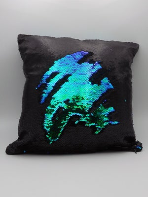Image of MATTE BLACK & IRID. GREEN REVERSIBLE SEQUIN CUSHION COVER
