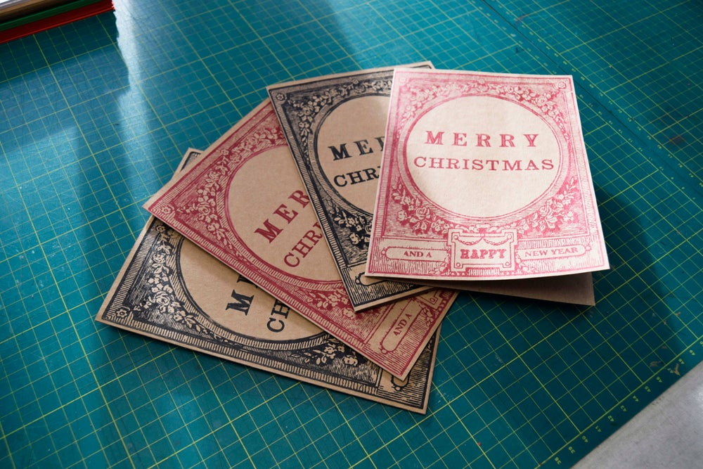 Image of Letterpress Christmas card workshop.  Sun. Nov 18th. 2018. 10am - 1pm. 2pm - 5pm sessions.