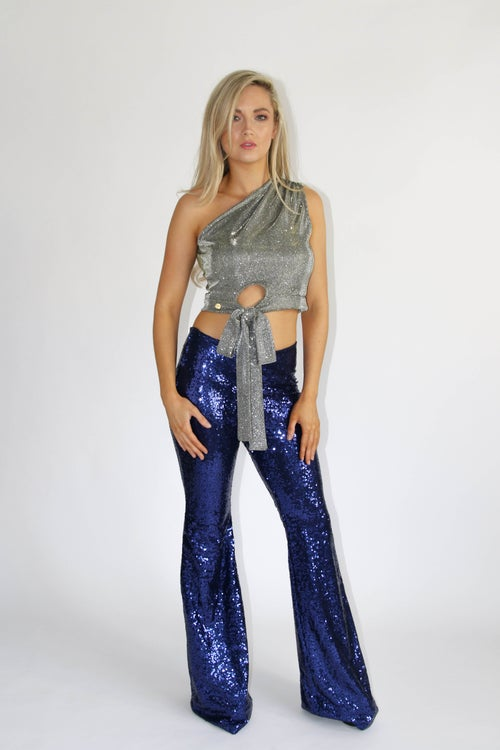 Image of Royal Navy Blue Sequin Flared Trousers