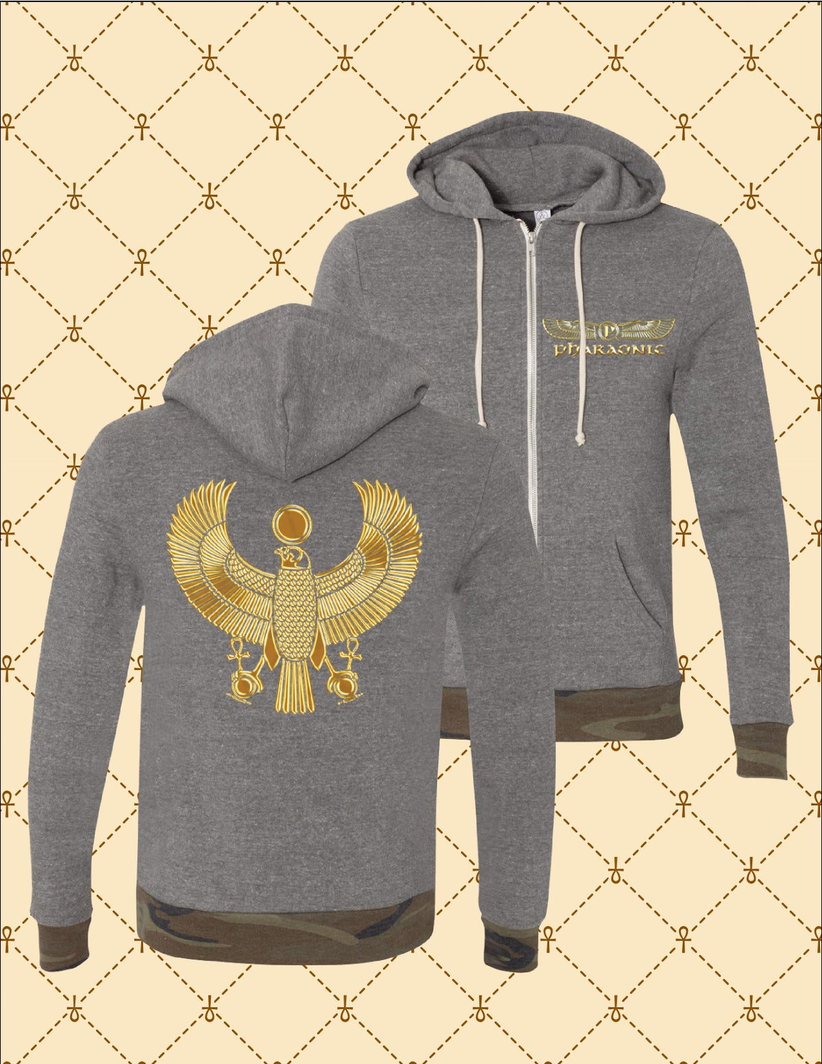 Image of Men's/Women's Gold HRU Athletic Grey_Camo Zip Up Hoodie