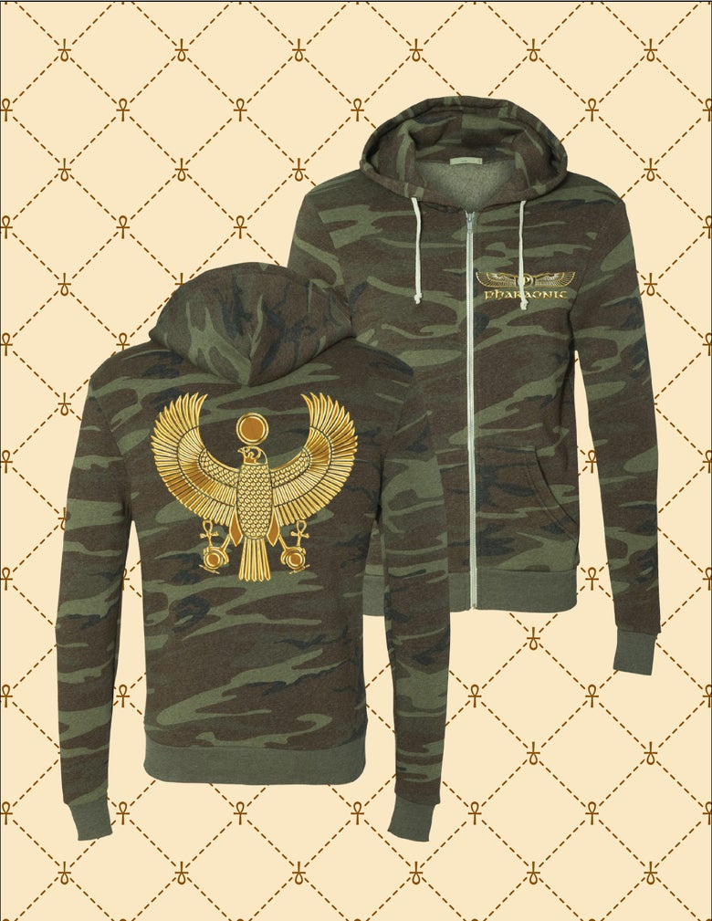 Image of Men's/Women's Gold HRU Camo Zip Up Hoodie