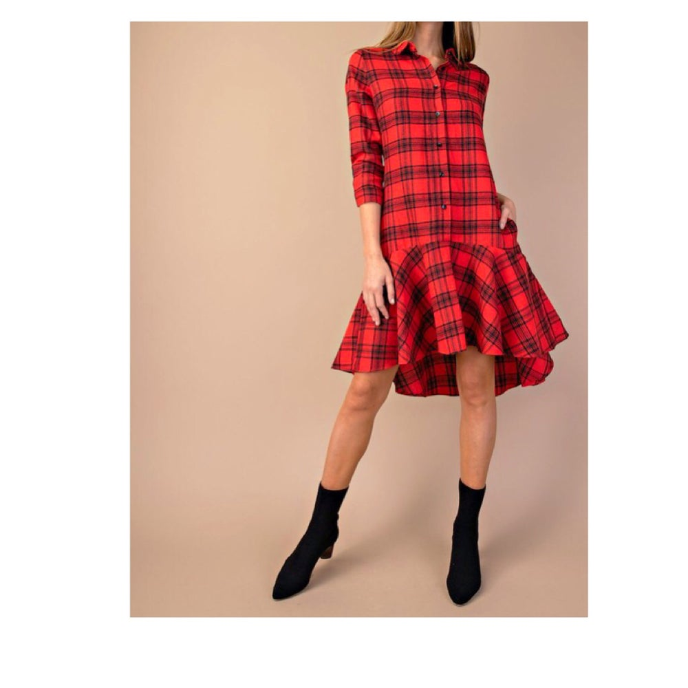 Image of Plaid High Low Dress