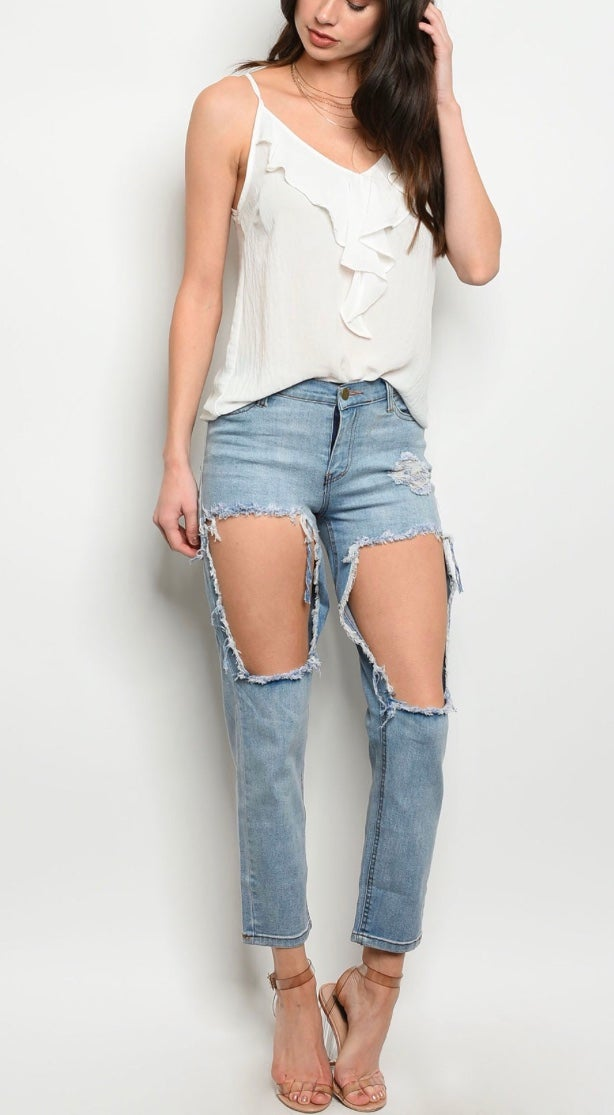 Image of High waisted Distressed Jeans