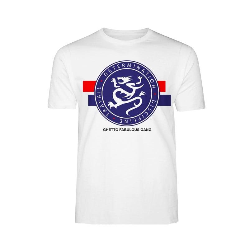"""Image of Tshirt GFG Blanc """"Détermination, discipline, travail"""""""