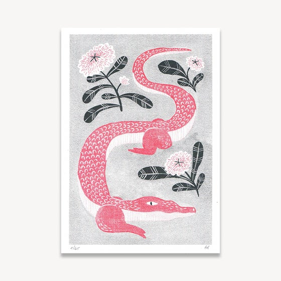 Image of Red Alligator // Risograph print